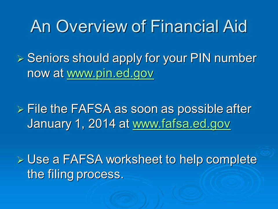 Types of Financial Aid   Merit Awards / Scholarship   Need Based Awards / Grants   Subsidized or Unsubsidized Loans   Work Study