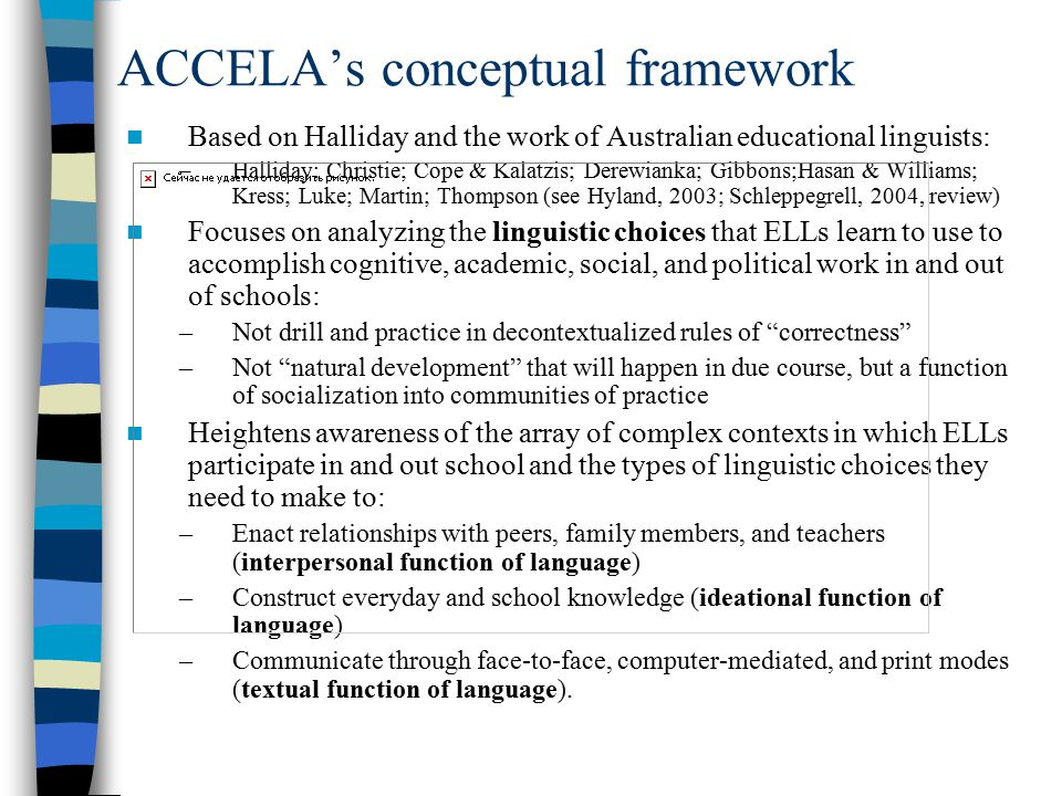 ACCELA's conceptual framework Based on Halliday and the work of Australian educational linguists: –Halliday; Christie; Cope & Kalatzis; Derewianka; Gibbons;Hasan & Williams; Kress; Luke; Martin; Thompson (see Hyland, 2003; Schleppegrell, 2004, review) Focuses on analyzing the linguistic choices that ELLs learn to use to accomplish cognitive, academic, social, and political work in and out of schools: –Not drill and practice in decontextualized rules of correctness –Not natural development that will happen in due course, but a function of socialization into communities of practice Heightens awareness of the array of complex contexts in which ELLs participate in and out school and the types of linguistic choices they need to make to: –Enact relationships with peers, family members, and teachers (interpersonal function of language) –Construct everyday and school knowledge (ideational function of language) –Communicate through face-to-face, computer-mediated, and print modes (textual function of language).