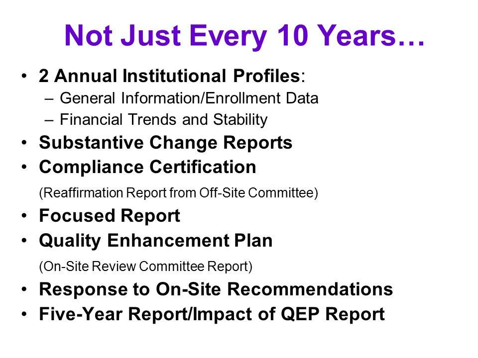 Not Just Every 10 Years… 2 Annual Institutional Profiles: –General Information/Enrollment Data –Financial Trends and Stability Substantive Change Reports Compliance Certification (Reaffirmation Report from Off-Site Committee) Focused Report Quality Enhancement Plan (On-Site Review Committee Report) Response to On-Site Recommendations Five-Year Report/Impact of QEP Report