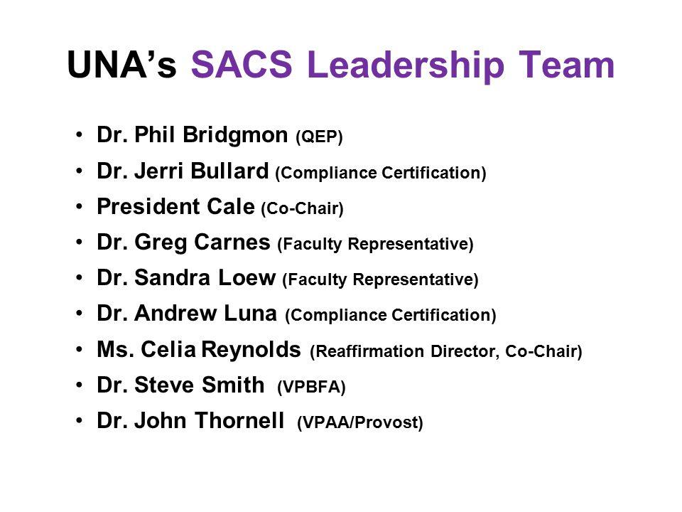 UNA's SACS Leadership Team Dr. Phil Bridgmon (QEP) Dr. Jerri Bullard (Compliance Certification) President Cale (Co-Chair) Dr. Greg Carnes (Faculty Rep