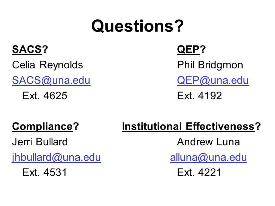 Questions? SACS?QEP? Celia ReynoldsPhil Bridgmon SACS@una.eduSACS@una.edu QEP@una.edu Ext. 4625Ext. 4192 Compliance?Institutional Effectiveness? Jerri