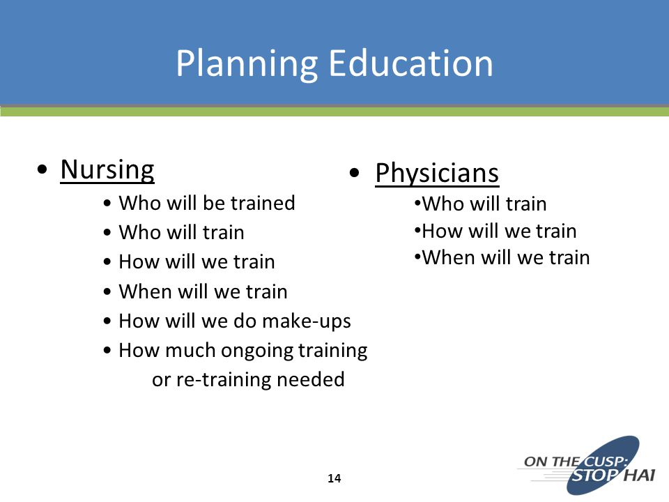 Planning Education Nursing Who will be trained Who will train How will we train When will we train How will we do make-ups How much ongoing training o