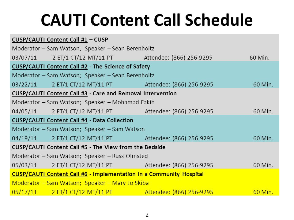 2 CUSP/CAUTI Content Call #2 - The Science of Safety Moderator – Sam Watson; Speaker – Sean Berenholtz 03/22/112 ET/1 CT/12 MT/11 PTAttendee: (866) 25