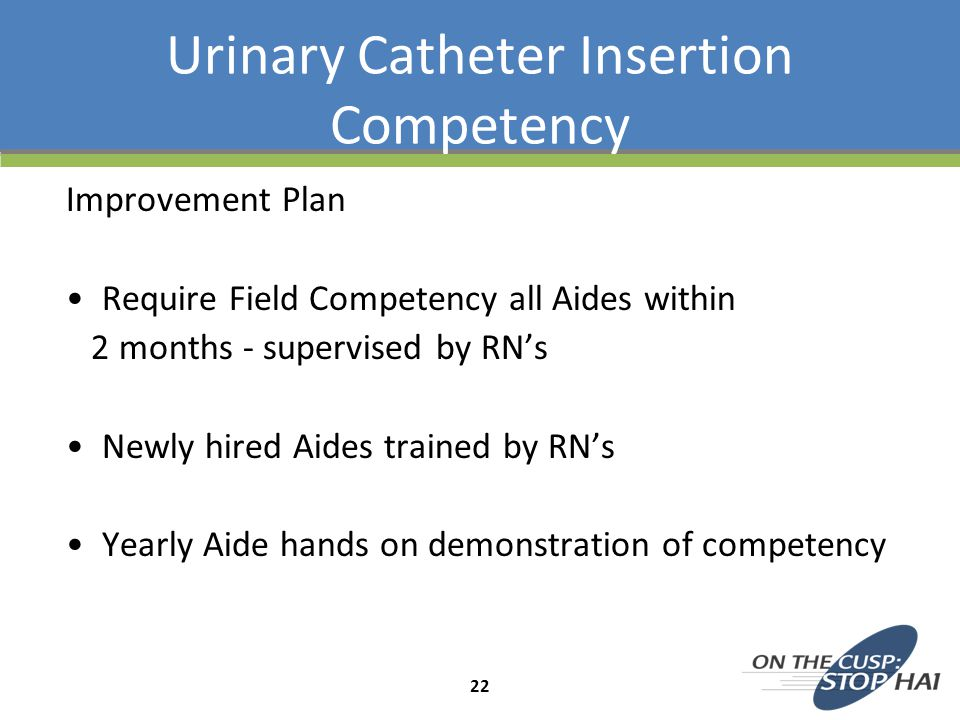 Urinary Catheter Insertion Competency Improvement Plan Require Field Competency all Aides within 2 months - supervised by RN's Newly hired Aides train