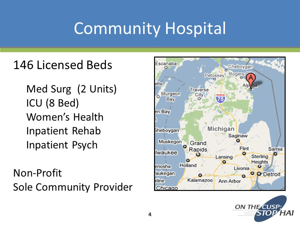 146 Licensed Beds Med Surg (2 Units) ICU (8 Bed) Women's Health Inpatient Rehab Inpatient Psych Non-Profit Sole Community Provider Community Hospital