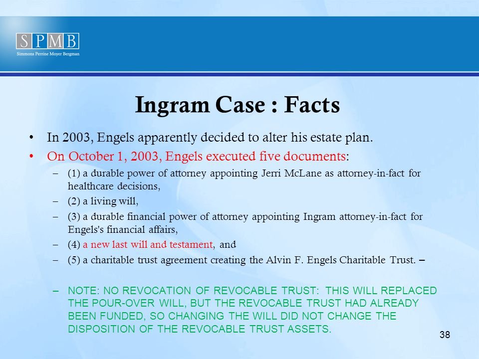 Ingram Case : Facts In 2003, Engels apparently decided to alter his estate plan.