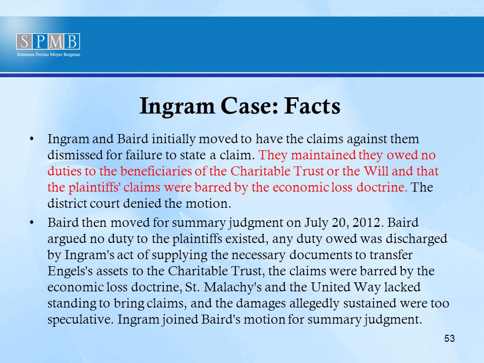 Ingram Case: Facts Ingram and Baird initially moved to have the claims against them dismissed for failure to state a claim.