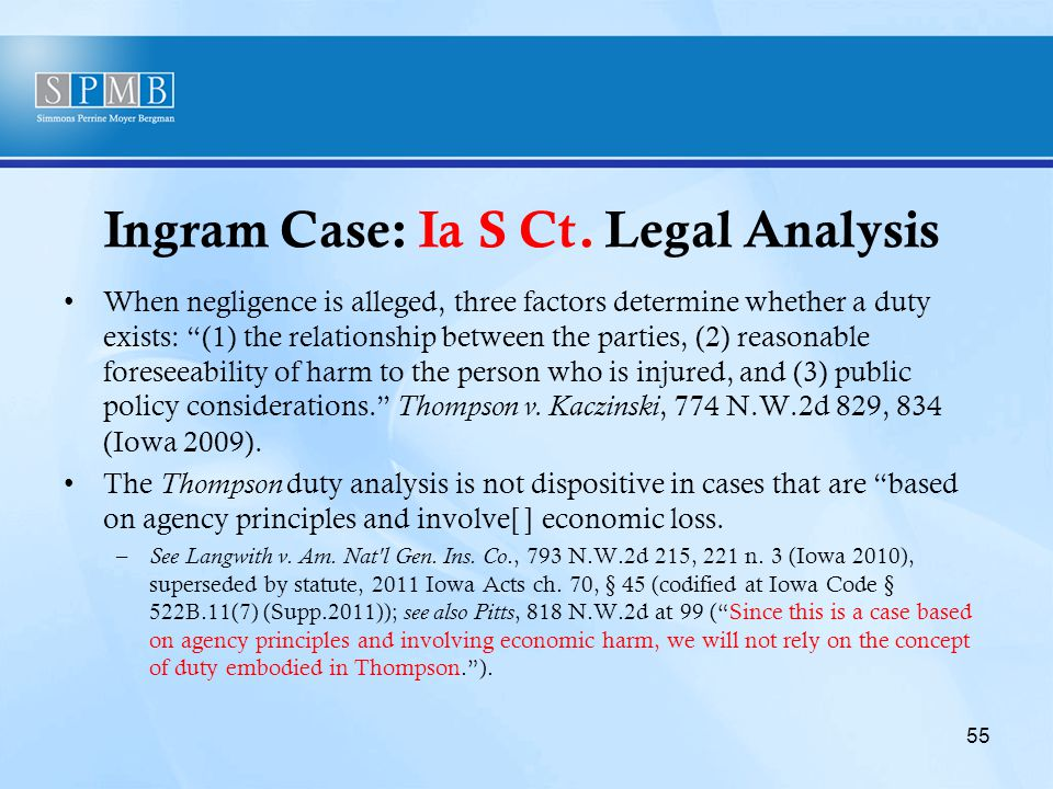 """Ingram Case: Ia S Ct. Legal Analysis When negligence is alleged, three factors determine whether a duty exists: """"(1) the relationship between the part"""