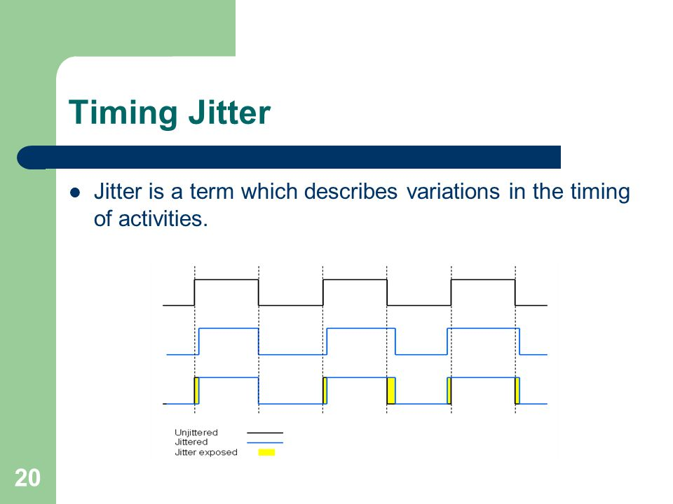 Timing Jitter Jitter is a term which describes variations in the timing of activities. 20