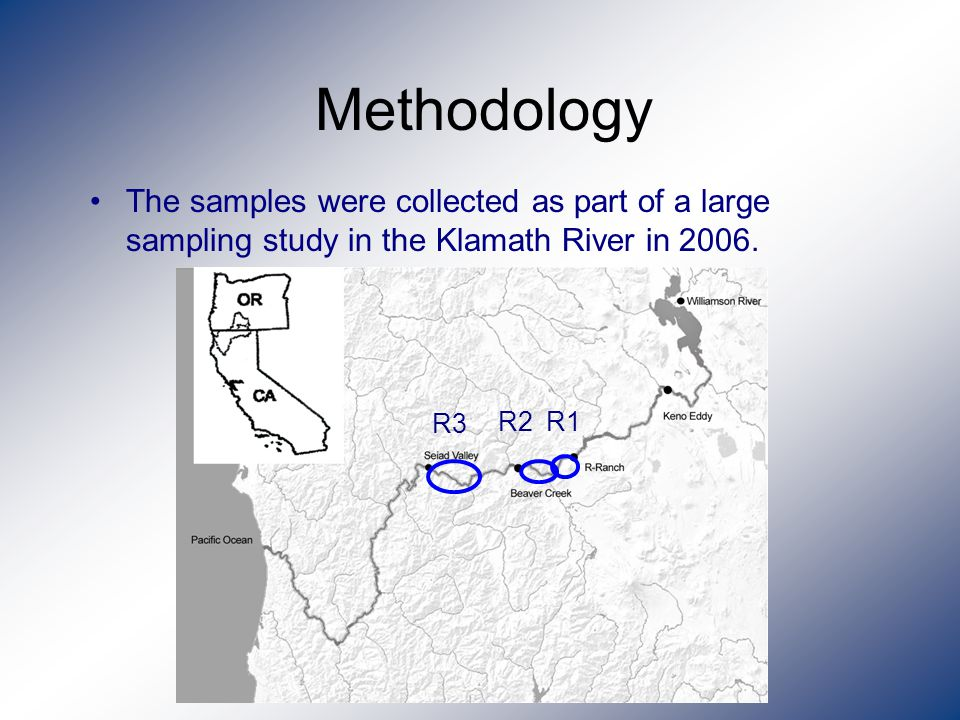 Methodology The samples were collected as part of a large sampling study in the Klamath River in 2006.
