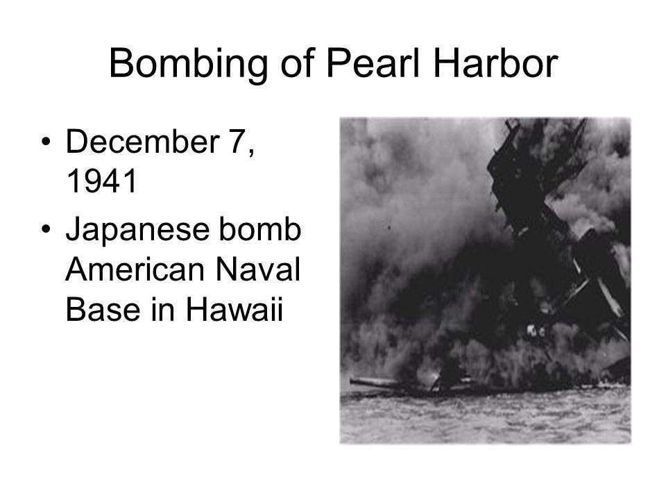 Bombing of Pearl Harbor December 7, 1941 Japanese bomb American Naval Base in Hawaii