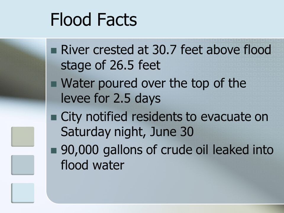 Flood Facts River crested at 30.7 feet above flood stage of 26.5 feet Water poured over the top of the levee for 2.5 days City notified residents to e