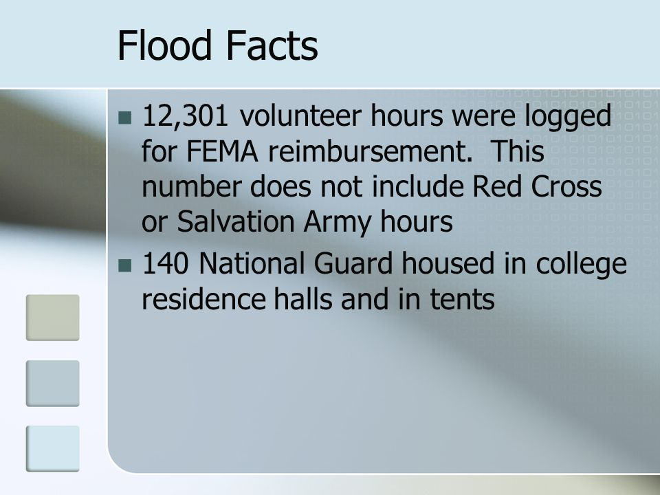 Flood Facts 12,301 volunteer hours were logged for FEMA reimbursement.