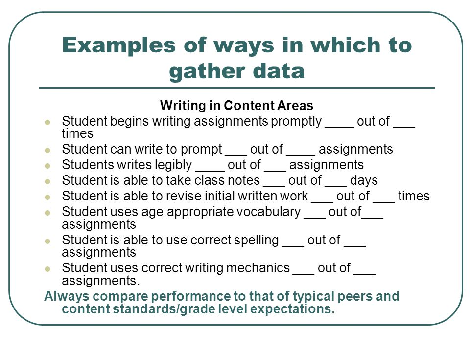 Examples of ways in which to gather data Writing in Content Areas Student begins writing assignments promptly ____ out of ___ times Student can write