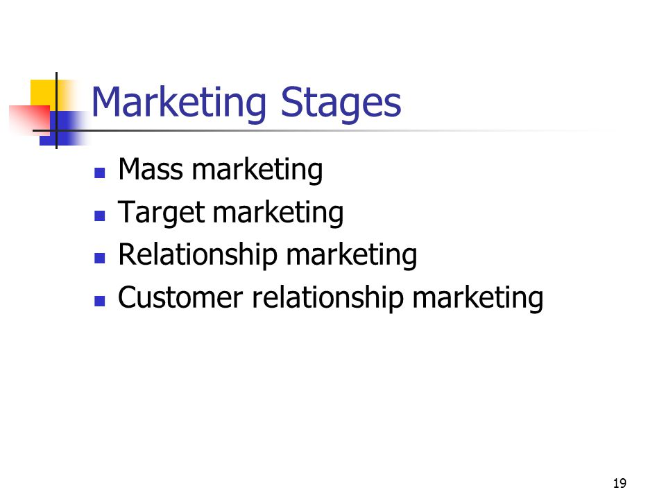 19 Marketing Stages Mass marketing Target marketing Relationship marketing Customer relationship marketing