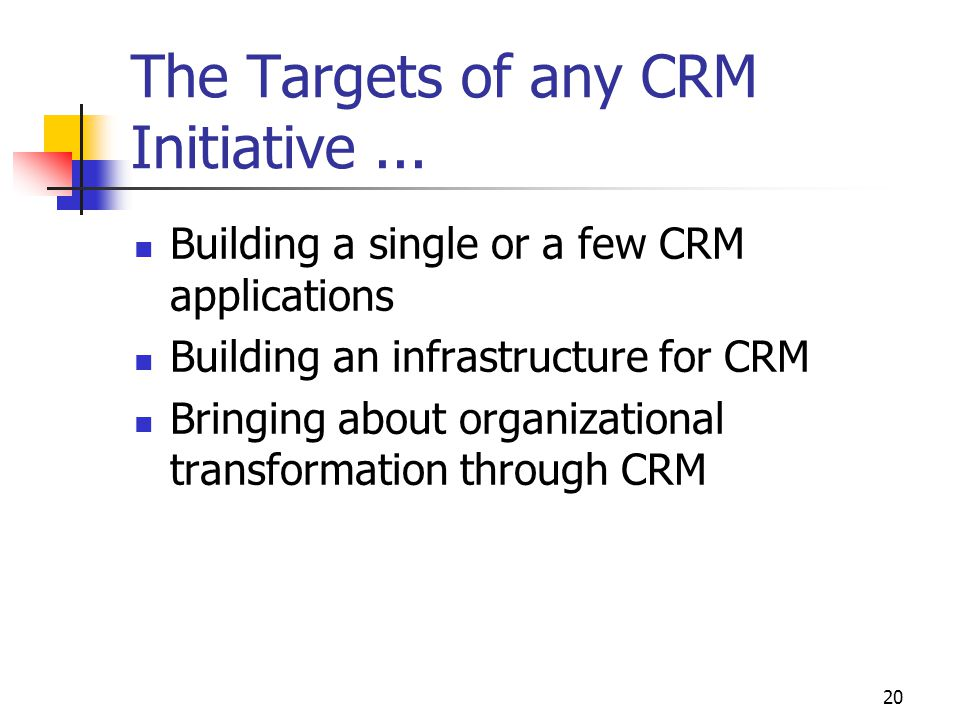 20 The Targets of any CRM Initiative...