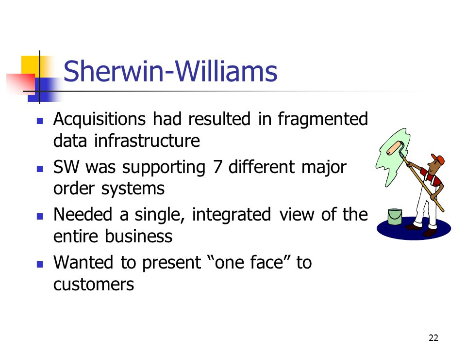 22 Sherwin-Williams Acquisitions had resulted in fragmented data infrastructure SW was supporting 7 different major order systems Needed a single, int