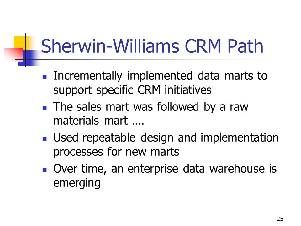 25 Sherwin-Williams CRM Path Incrementally implemented data marts to support specific CRM initiatives The sales mart was followed by a raw materials m