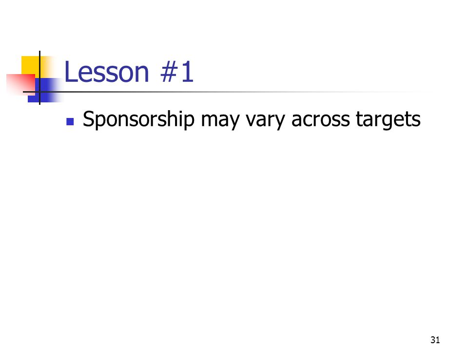 31 Lesson #1 Sponsorship may vary across targets