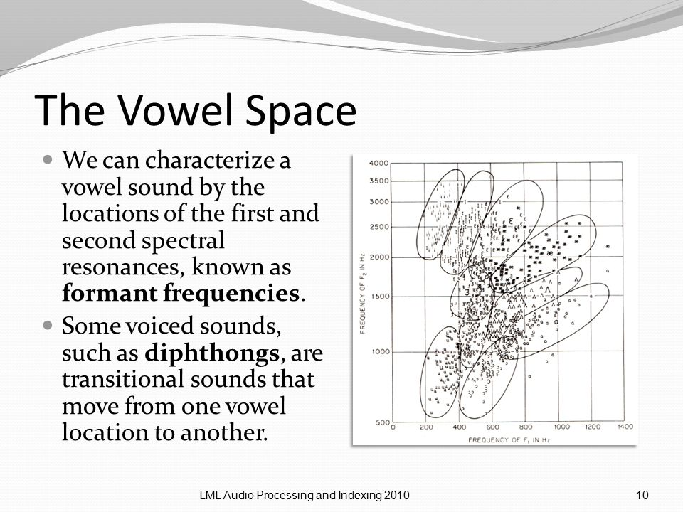 The Vowel Space We can characterize a vowel sound by the locations of the first and second spectral resonances, known as formant frequencies.