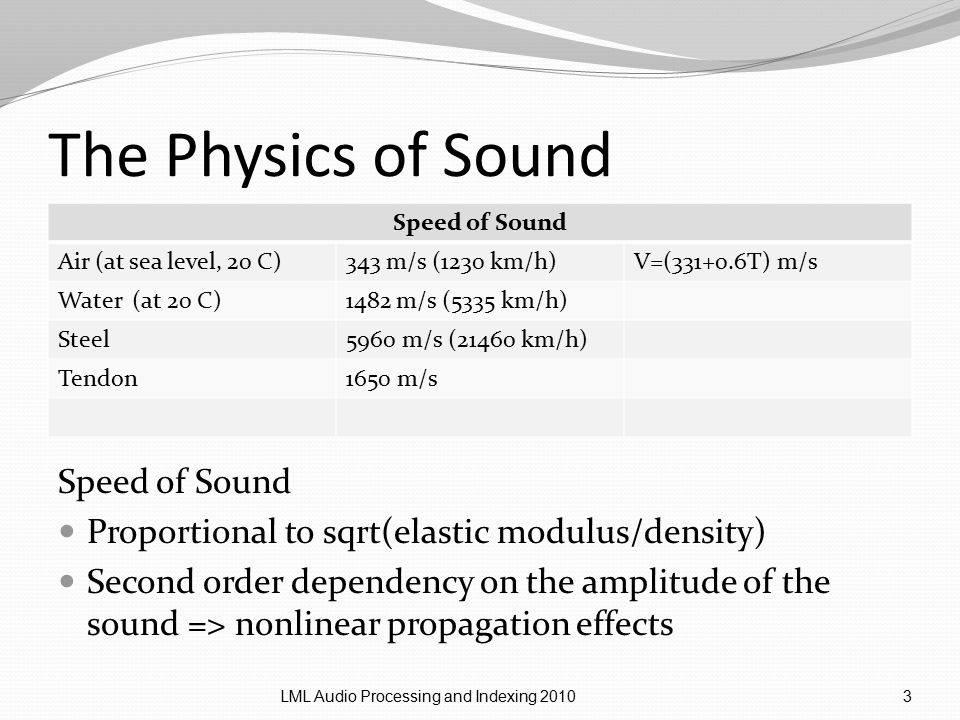 The Physics of Sound Speed of Sound Air (at sea level, 20 C)343 m/s (1230 km/h)V=(331+0.6T) m/s Water (at 20 C)1482 m/s (5335 km/h) Steel5960 m/s (21460 km/h) Tendon1650 m/s LML Audio Processing and Indexing 20103 Speed of Sound Proportional to sqrt(elastic modulus/density) Second order dependency on the amplitude of the sound => nonlinear propagation effects