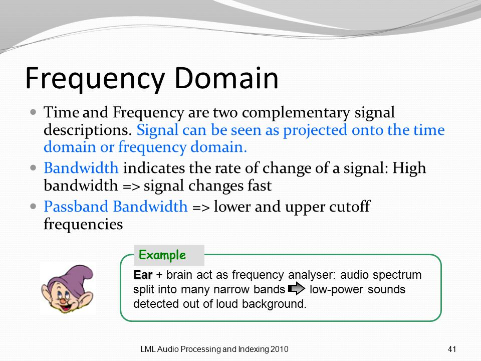 Frequency Domain Time and Frequency are two complementary signal descriptions.