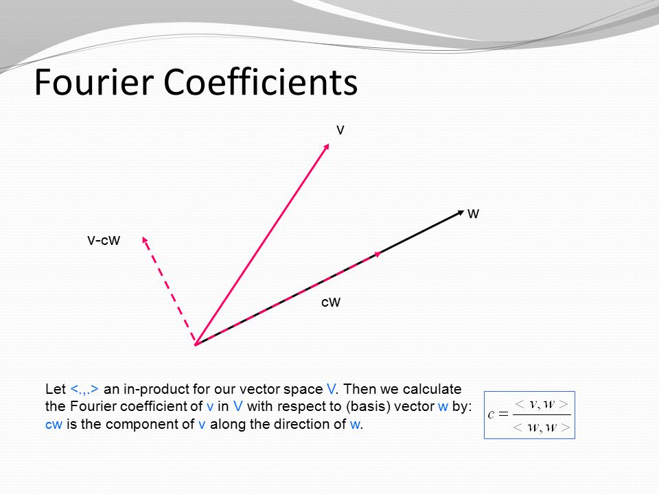 Fourier Coefficients v w cwcw v- c w Let an in-product for our vector space V.