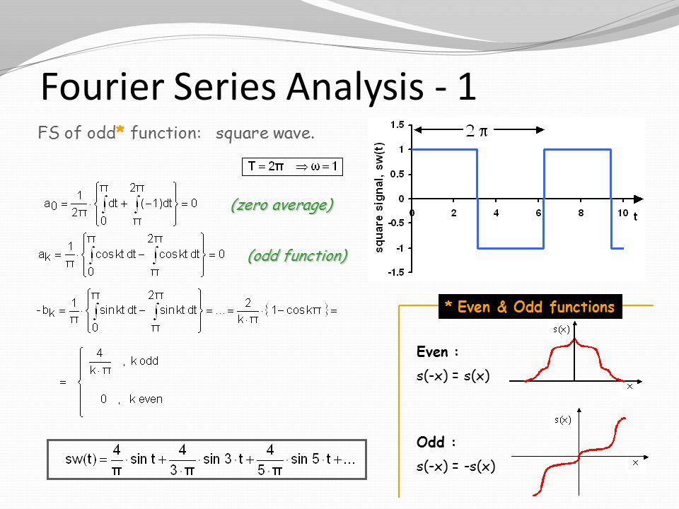 Fourier Series Analysis - 1 * Even & Odd functions Odd : s(-x) = -s(x) Even : s(-x) = s(x) FS of odd* function: square wave.