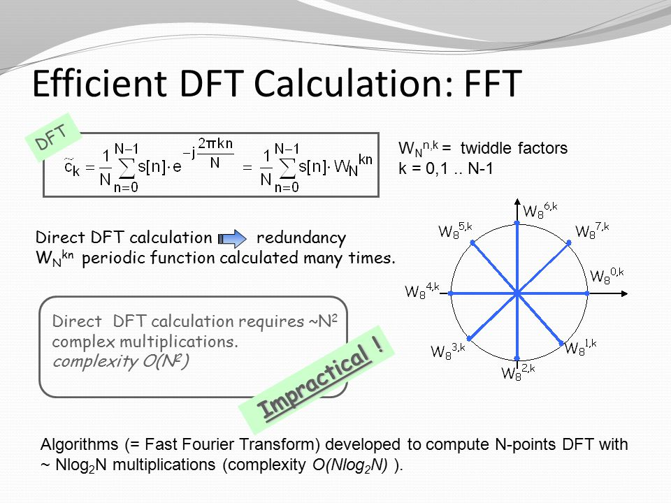 Efficient DFT Calculation: FFT W N n,k = twiddle factors k = 0,1..
