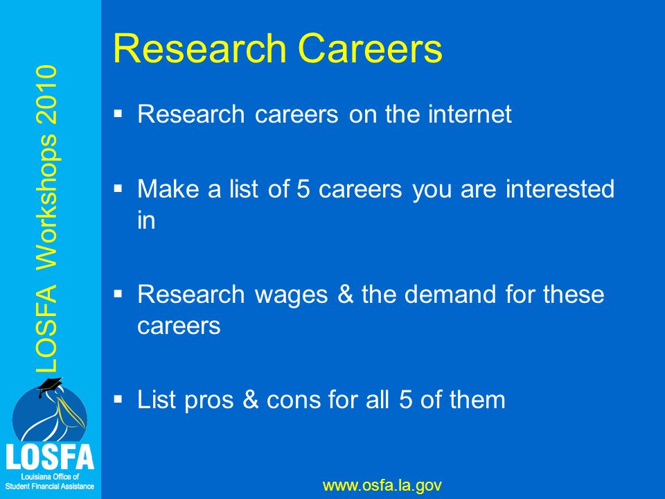 LOSFA Workshops 2010 www.osfa.la.gov LOSFA Workshops 2010 Research Careers  Research careers on the internet  Make a list of 5 careers you are interested in  Research wages & the demand for these careers  List pros & cons for all 5 of them