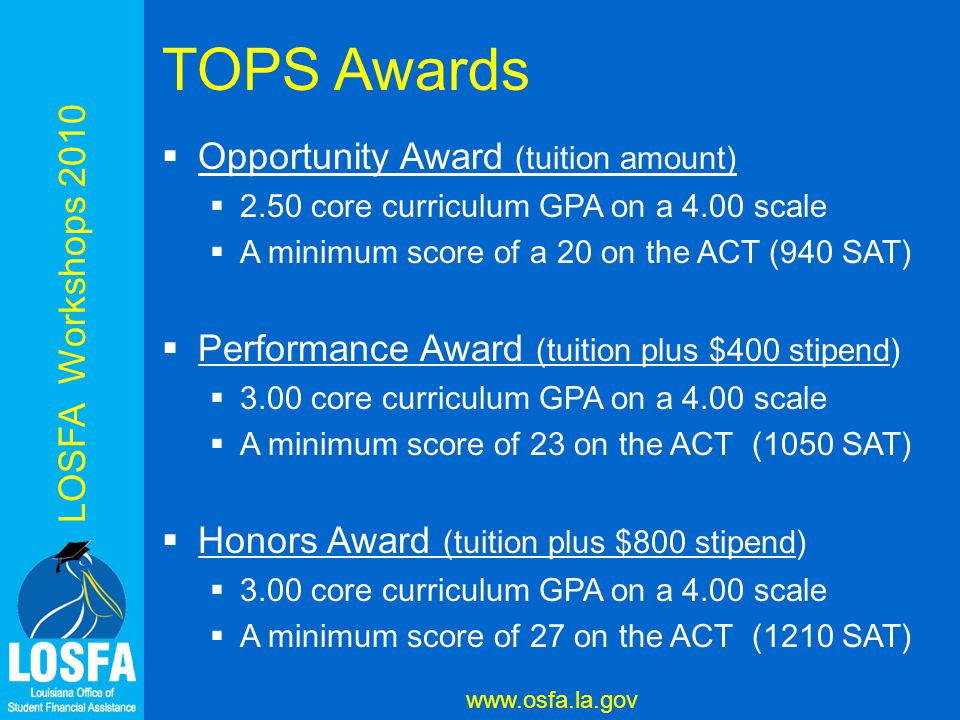 LOSFA Workshops 2010 www.osfa.la.gov TOPS Awards  Opportunity Award (tuition amount)  2.50 core curriculum GPA on a 4.00 scale  A minimum score of a 20 on the ACT (940 SAT)  Performance Award (tuition plus $400 stipend)  3.00 core curriculum GPA on a 4.00 scale  A minimum score of 23 on the ACT (1050 SAT)  Honors Award (tuition plus $800 stipend)  3.00 core curriculum GPA on a 4.00 scale  A minimum score of 27 on the ACT (1210 SAT)