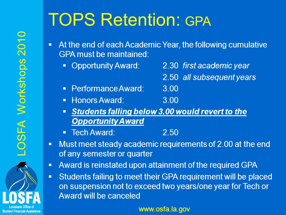 LOSFA Workshops 2010 www.osfa.la.gov TOPS Retention: GPA  At the end of each Academic Year, the following cumulative GPA must be maintained:  Opportunity Award:2.30 first academic year 2.50 all subsequent years  Performance Award:3.00  Honors Award:3.00  Students falling below 3.00 would revert to the Opportunity Award  Tech Award:2.50  Must meet steady academic requirements of 2.00 at the end of any semester or quarter  Award is reinstated upon attainment of the required GPA  Students failing to meet their GPA requirement will be placed on suspension not to exceed two years/one year for Tech or Award will be canceled
