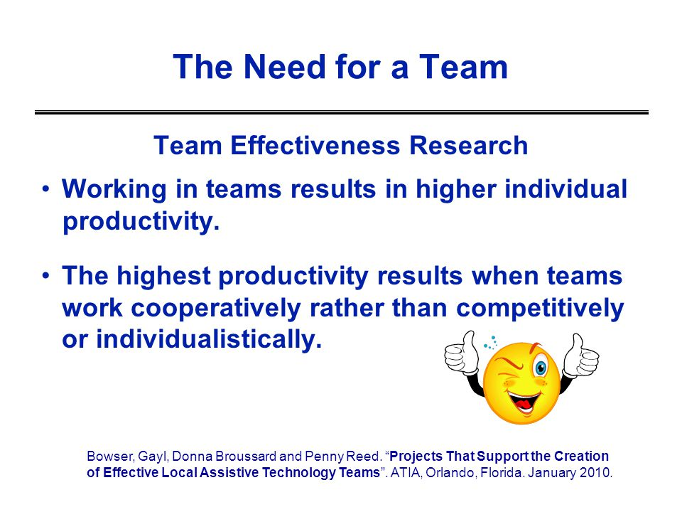 Team Effectiveness Research Working in teams results in higher individual productivity. The highest productivity results when teams work cooperatively