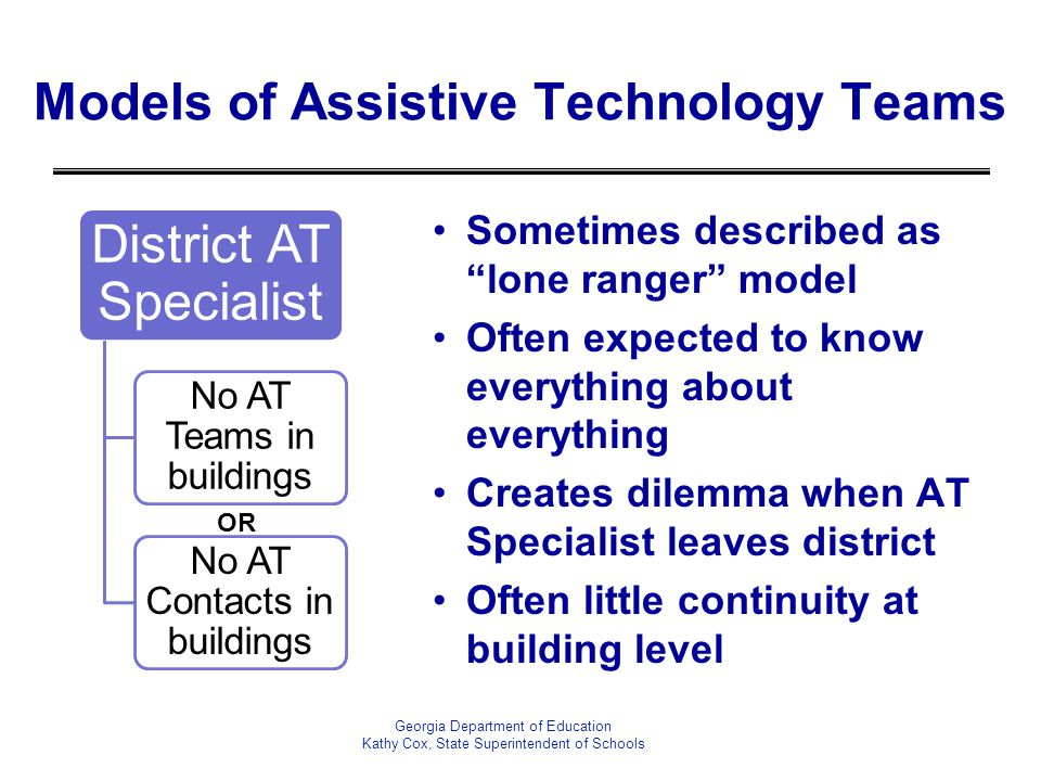"Georgia Department of Education Kathy Cox, State Superintendent of Schools Models of Assistive Technology Teams Sometimes described as ""lone ranger"" m"