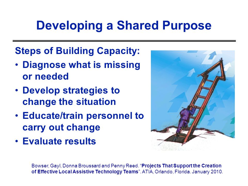 Steps of Building Capacity: Diagnose what is missing or needed Develop strategies to change the situation Educate/train personnel to carry out change