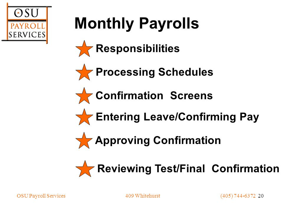 OSU Payroll Services(405) 744-6372 20409 Whitehurst Monthly Payrolls Responsibilities Processing Schedules Confirmation Screens Entering Leave/Confirming Pay Approving Confirmation Reviewing Test/Final Confirmation