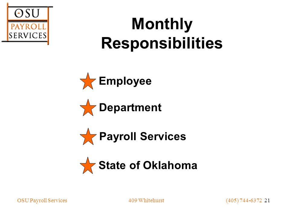 OSU Payroll Services(405) 744-6372 21409 Whitehurst Monthly Responsibilities Employee Department Payroll Services State of Oklahoma