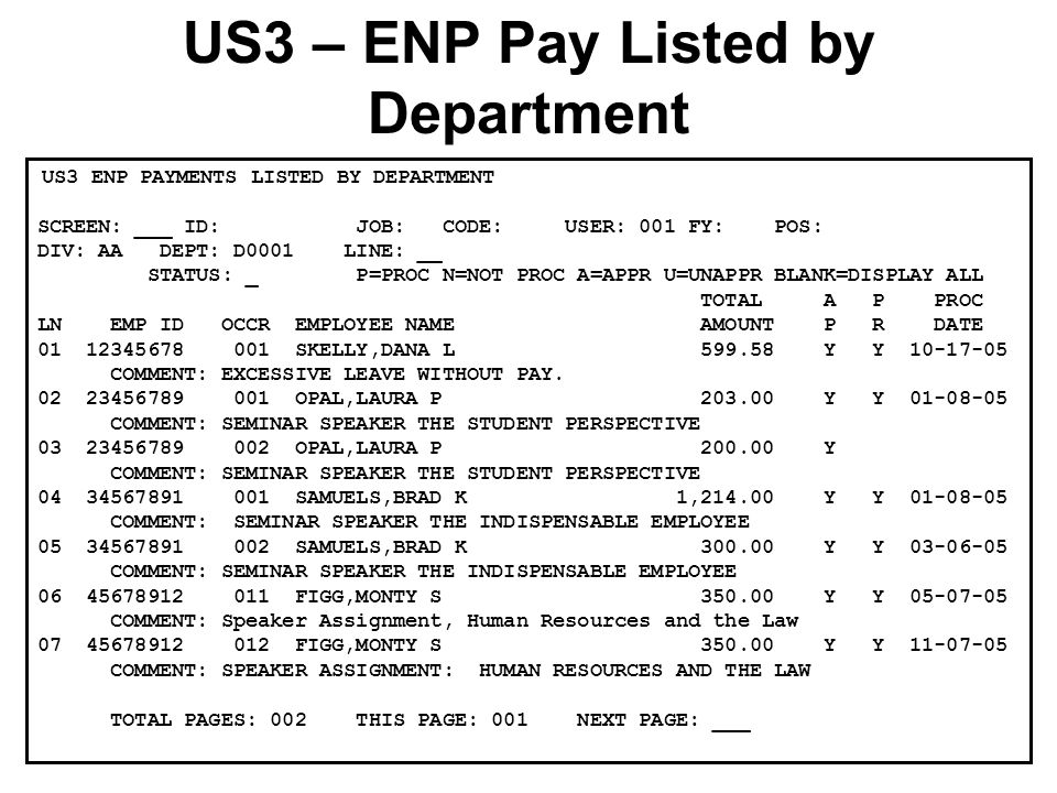 US3 ENP PAYMENTS LISTED BY DEPARTMENT SCREEN: ___ ID: JOB: CODE: USER: 001 FY: POS: DIV: AA DEPT: D0001 LINE: __ STATUS: _ P=PROC N=NOT PROC A=APPR U=UNAPPR BLANK=DISPLAY ALL TOTAL A P PROC LN EMP ID OCCR EMPLOYEE NAME AMOUNT P R DATE 01 12345678 001 SKELLY,DANA L 599.58 Y Y 10-17-05 COMMENT: EXCESSIVE LEAVE WITHOUT PAY.