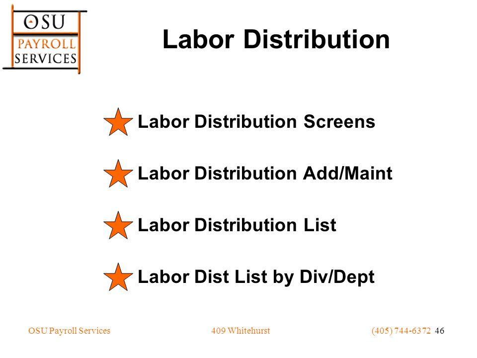 OSU Payroll Services(405) 744-6372 46409 Whitehurst Labor Distribution Labor Distribution Screens Labor Distribution Add/Maint Labor Distribution List
