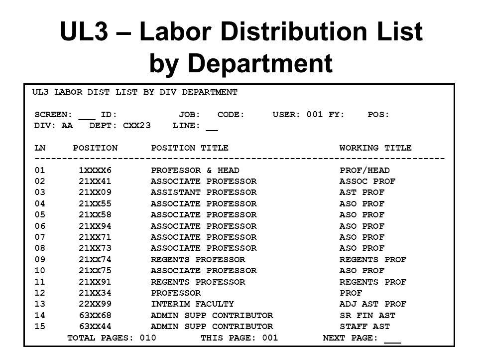 UL3 – Labor Distribution List by Department UL3 LABOR DIST LIST BY DIV DEPARTMENT SCREEN: ___ ID: JOB: CODE: USER: 001 FY: POS: DIV: AA DEPT: CXX23 LINE: __ LN POSITION POSITION TITLE WORKING TITLE -------------------------------------------------------------------------- 01 1XXXX6 PROFESSOR & HEAD PROF/HEAD 02 21XX41 ASSOCIATE PROFESSOR ASSOC PROF 03 21XX09 ASSISTANT PROFESSOR AST PROF 04 21XX55 ASSOCIATE PROFESSOR ASO PROF 05 21XX58 ASSOCIATE PROFESSOR ASO PROF 06 21XX94 ASSOCIATE PROFESSOR ASO PROF 07 21XX71 ASSOCIATE PROFESSOR ASO PROF 08 21XX73 ASSOCIATE PROFESSOR ASO PROF 09 21XX74 REGENTS PROFESSOR REGENTS PROF 10 21XX75 ASSOCIATE PROFESSOR ASO PROF 11 21XX91 REGENTS PROFESSOR REGENTS PROF 12 21XX34 PROFESSOR PROF 13 22XX99 INTERIM FACULTY ADJ AST PROF 14 63XX68 ADMIN SUPP CONTRIBUTOR SR FIN AST 15 63XX44 ADMIN SUPP CONTRIBUTOR STAFF AST TOTAL PAGES: 010 THIS PAGE: 001 NEXT PAGE: ___