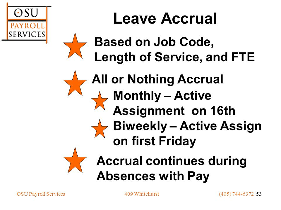 OSU Payroll Services(405) 744-6372 53409 Whitehurst Leave Accrual Based on Job Code, Length of Service, and FTE All or Nothing Accrual Monthly – Active Assignment on 16th Biweekly – Active Assign on first Friday Accrual continues during Absences with Pay