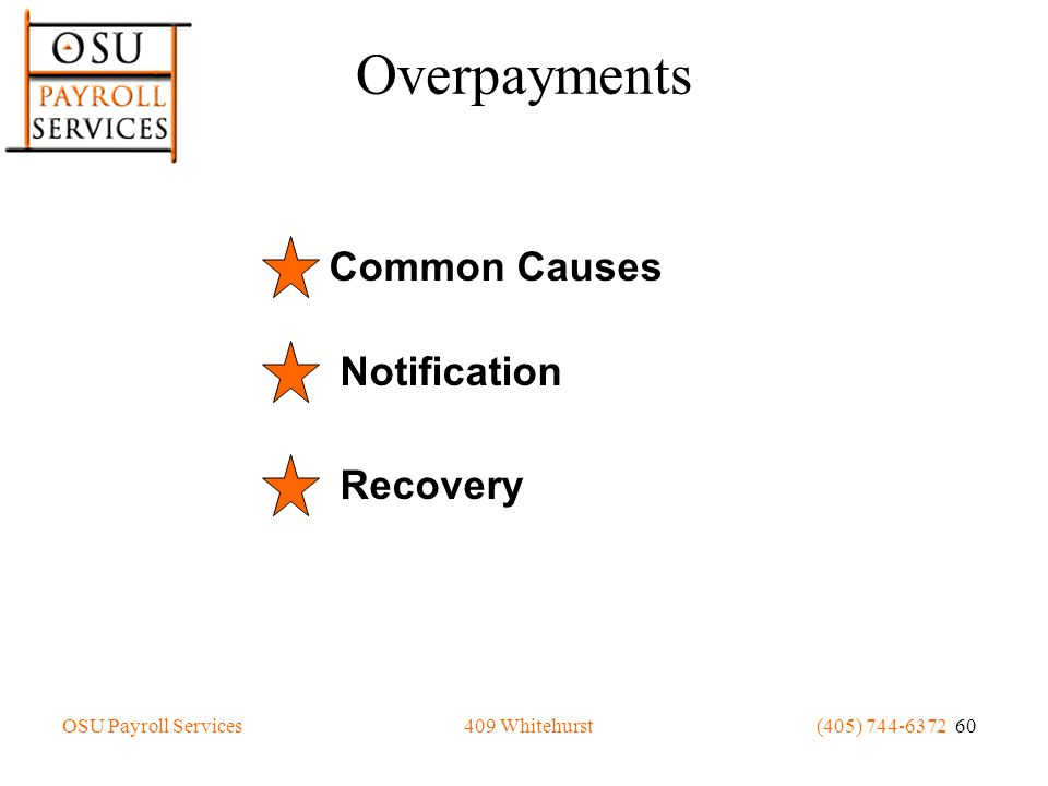 OSU Payroll Services(405) 744-6372 60409 Whitehurst Overpayments Common Causes Notification Recovery