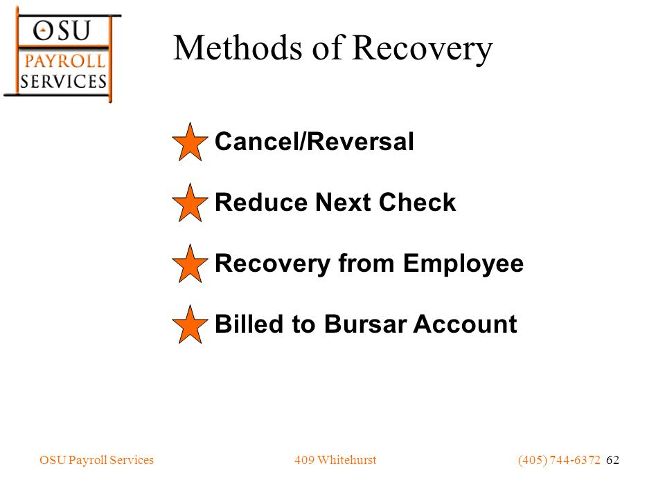 OSU Payroll Services(405) 744-6372 62409 Whitehurst Methods of Recovery Cancel/Reversal Reduce Next Check Recovery from Employee Billed to Bursar Account