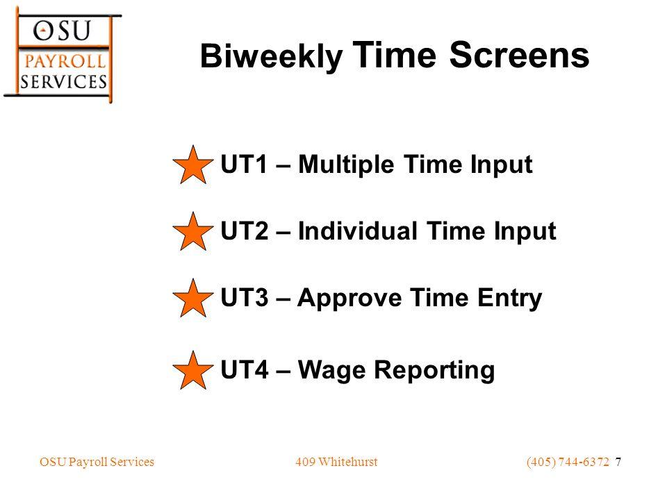 UT1 MULTIPLE TIME INPUT GREAT OSU DEPARTMENT SCREEN: ___ ID: JOB: CODE: USER: 001 FY: 07 POS: DIV: AA DEPT: D0001 NAME: ADKINS,LESLIE J HOURS HOURS PAY COMP TOTAL WEEK1 WEEK2 OT.