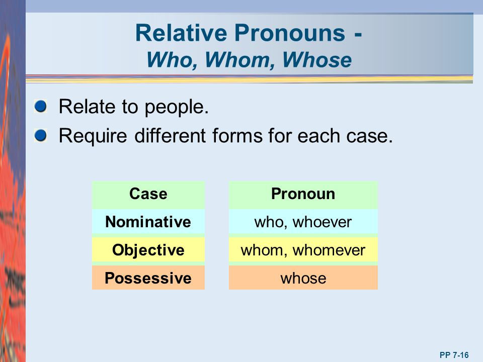 Relative Pronouns - Who, Whom, Whose Relate to people. Require different forms for each case. CasePronoun Nominativewho, whoever Objectivewhom, whomev