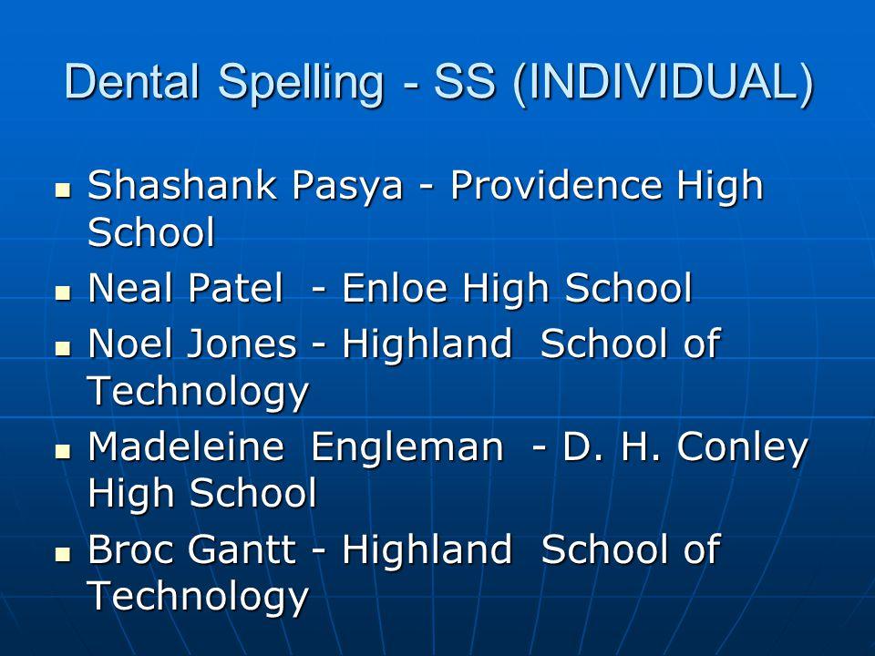 Medical Terminology - SS (INDIVIDUAL) 3Myshawn Woods - Bartlett Yancey High School 3Myshawn Woods - Bartlett Yancey High School 2Kim Coffino - Myers Park High School 2Kim Coffino - Myers Park High School 1Alison Moller - Holly Springs 1Alison Moller - Holly Springs