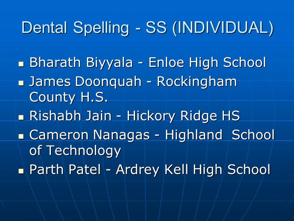 Dental Spelling - SS (INDIVIDUAL) 3Cameron Nanagas - Highland School of Technology 3Cameron Nanagas - Highland School of Technology 2Madeleine Engleman - D.