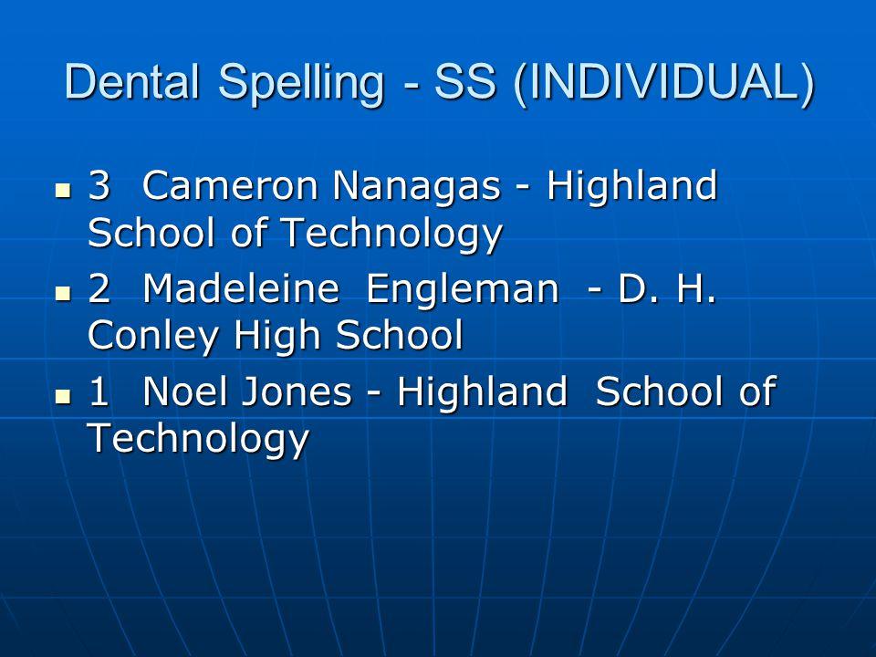 Dental Science - SS (INDIVIDUAL) Lauren Hobson - Forbush High School-HOSA Lauren Hobson - Forbush High School-HOSA Max Lowman - NC School of Science and Math Max Lowman - NC School of Science and Math A.j.