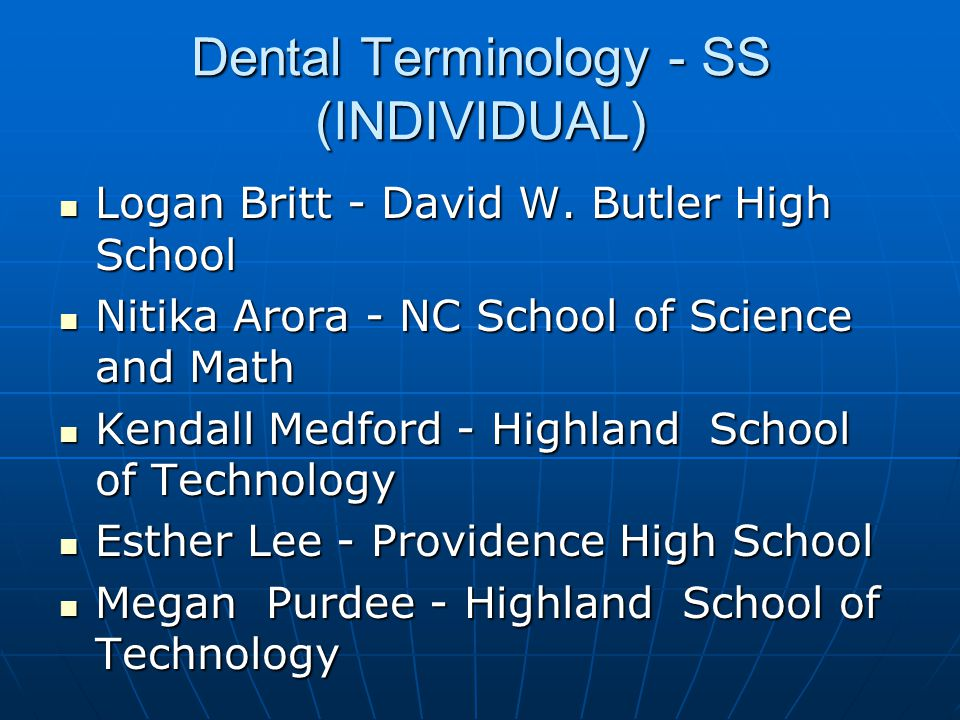 Medical Spelling - SS (INDIVIDUAL) 3Andrew Hoffman - Jacksonville High School 3Andrew Hoffman - Jacksonville High School 2Evan Brooks - NC School of Science and Math 2Evan Brooks - NC School of Science and Math 1Emily Jefferson - Jacksonville High School 1Emily Jefferson - Jacksonville High School