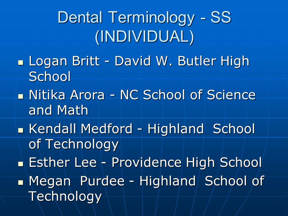 Dental Science - SS (INDIVIDUAL) 3Austin Lowry - Highland School of Technology 3Austin Lowry - Highland School of Technology 2Hannah Phillips - Highland School of Technology 2Hannah Phillips - Highland School of Technology 1Kaylee Tanner - Highland School of Technology 1Kaylee Tanner - Highland School of Technology